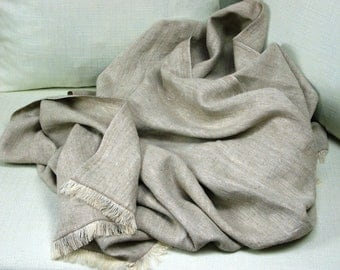 Linen Blanket -Sand- linen throw, linen bedspread, pure linen, Eco-friendly,