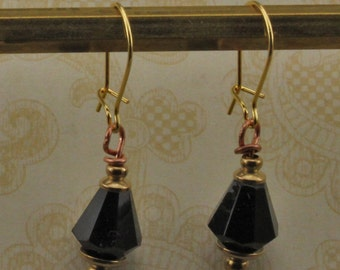 Copper with Black Glass Dangle Earrings