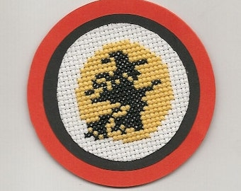 Cross Stitch, Witch, Broomstick, Moon Halloween Magnets Handmade
