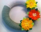 Handmade Yarn Wreath with flowers-Door-Wall Decoration-14 in Wreath- Ready to Ship
