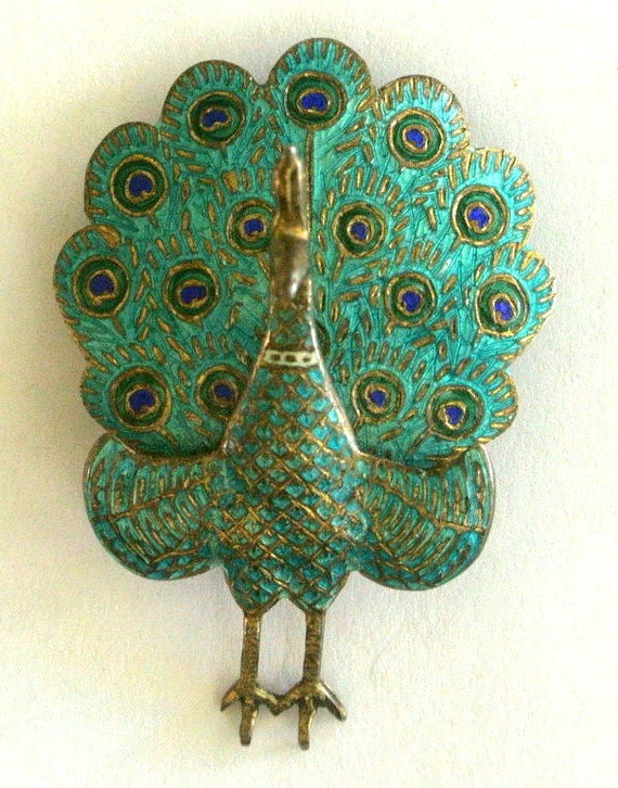 Vintage Peacock Cloisonne Siam Brooch Gift