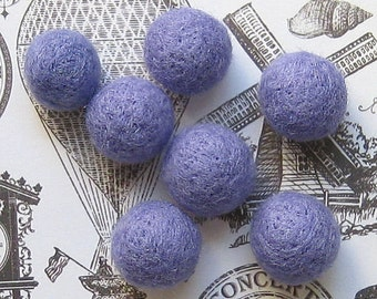 5 Felted Wool Beads Lavender Lilac 15mm