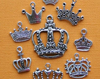 Crown Charm Collection Antique  Silver Tone 9 Different Charms - COL149