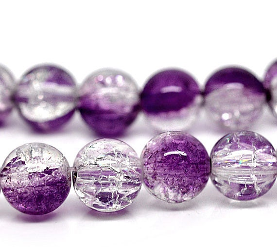 15 Crackle Glass Beads 10mm - Purple Amethyst and Clear Tones BD100