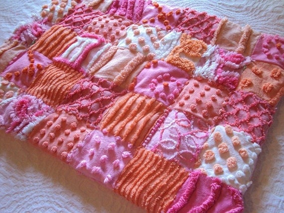 Cute vintage chenille doll quilt, lovey or pet bed, pink and orange