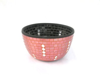 Salmon pink black fruit bowl mosaic inside and outside with pieces of mirror modern home decor contemporary art