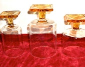 Beautiful Unique Vintage Drinking Glasses Goblets Golden Amber Stemmed Footed Square Bases Set of 3