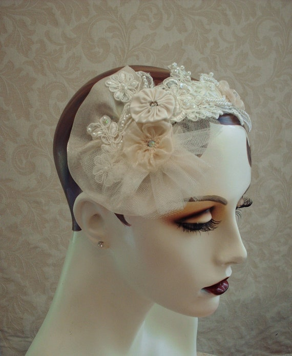 Ivory Lace Bridal Headpiece, Weddings, Wedding Headpiece, Bridal Hair Accessories,  Tulle and Lace Fascinator