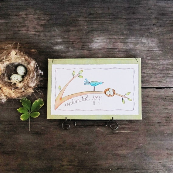 new mom gift, nursery decor, baby room art, bird with nest, sage green, gift under 35 READY TO SHIP by mamableudesigns