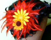 burnt orange feather yellow and orange daisy hair fascinator - MollysPurl