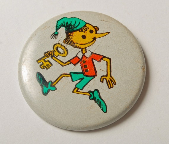 Vintage pin, Pinocchio, Buratino  Badge, from USSR