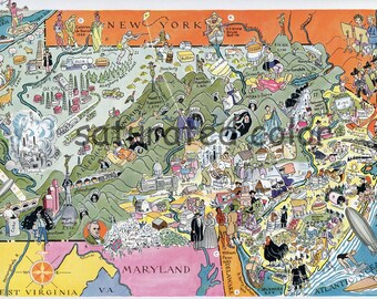 Pennsylvania New Jersey Map - ORIGINAL 1932 Vintage Picture Map - Elmer Berta Hader - Antique Philadelphia Pittsburgh Newark Patterson Erie