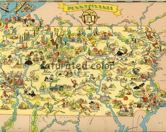 Pennsylvania Map ORIGINAL 9 X 13 Vintage 1930s Antique Picture Map of Pennsylvania - Ruth Taylor White - Philadelphia Pittsburgh Souvenir