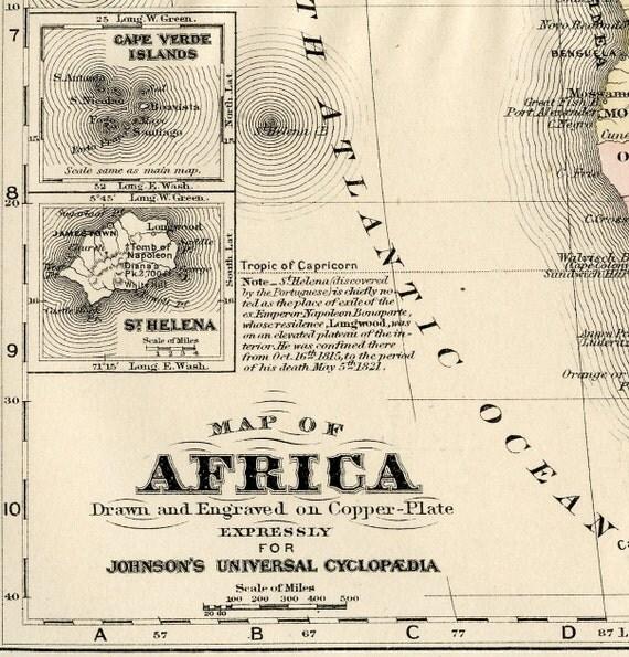 Antique Africa  Map - Original 1895 Map of Africa - Madagascar - Sudan - Buinea - Congo - Angola - South Africa -  Sahara - Egypt