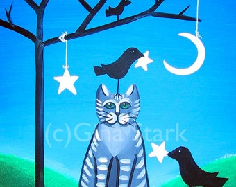 Grey Tabby Cat and Crows Hanging the Stars Crescent  Moon Whimsical Art Print