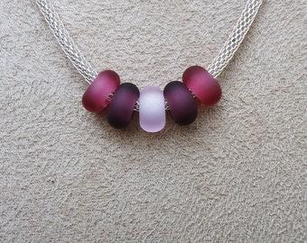 Pretty in Pink Sea Glass Rings for European Charm Bracelet