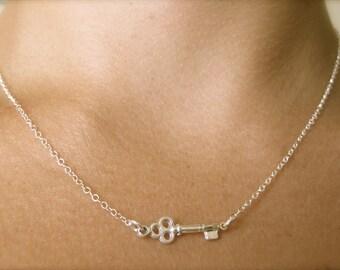 Tiny Skeleton Key Necklace
