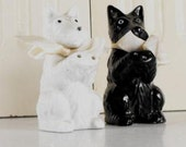 Black and White Scotty Scottie Scottish Terrier Dog Salt and Pepper Shakers