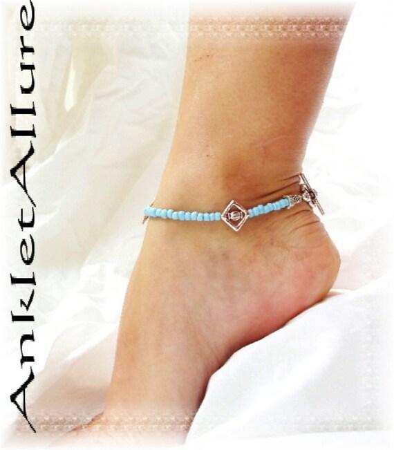 Southwestern BackYard Gypsy Anklet Blue Silver Cage Ankle Bracelet