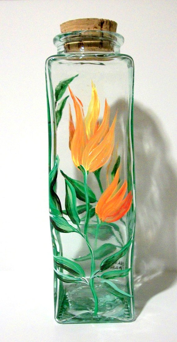 Hand Painted Glass Bottle Hawaiian Flowers and Bamboo with a Cork Stopper / Made in Italy