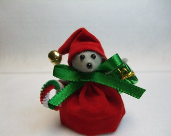 Free Shipping ) Elf Christmas Mouse Ornament wearing a Red Suit & Hat Great for Mice Rat Collector Animal lover ByTerrys Country Shop (133 )