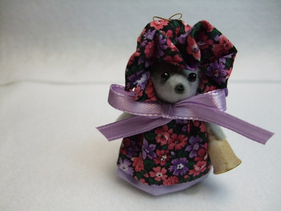 Free Shipping ) Carol  a handmade Print Dress & Bonnet Mouse Ornament Great for Mice Rat Collector animal lover By Country Mouse Inn ( 101 )