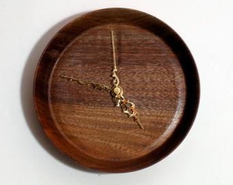 Walnut Clock, Wood Wall Clock, Turned Wood Clock