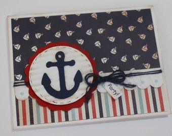 Nautical baby shower invitations - rustic red and blue, baby shower or birthday invites, set of 12