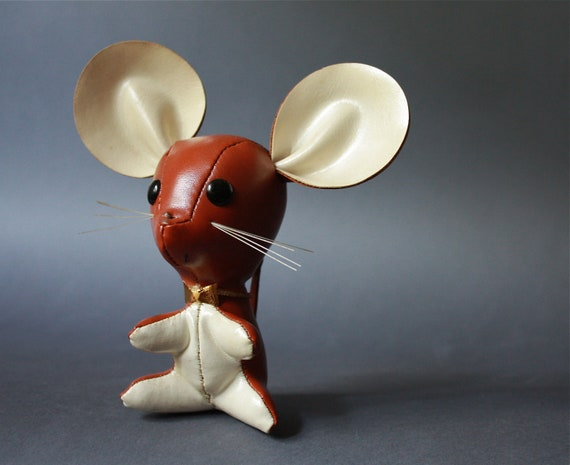 Vintage Vinyl Stuffed Toy Brown Mouse