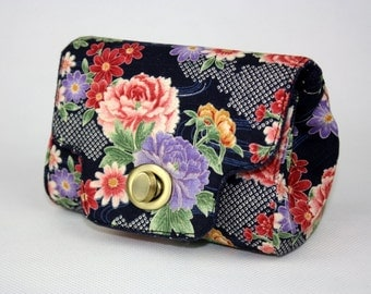 Clutch Purse Blooming Peony (Floral Wallet, Foldover Clutch, Coin Purse, Card Pockets, iPhone Purse)
