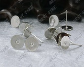 30pcs Platina Tone Brass Earring Posts With Round 8mm Pad,Earring Findings