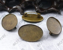 10pcs Antique Brass Pad  Oval brooch Base (Cabochon Size:18x25mm),brooch findings