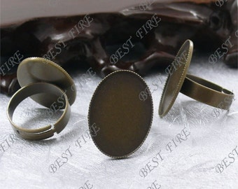 20pcs Antique Brass Pad Open Adjustable RING Picot Edge Oval Base (Cabochon Size:18x25mm),Ring Findings