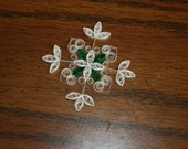 Reserved Listing for Holly: Set of 60 Quilled Snowflake Ornaments White with Green Accents
