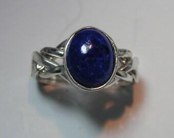 Ladies 4 Band Lapis Lazuli Puzzle Ring