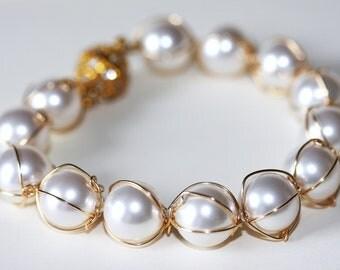 Swarovski pearls bracelet in 14K gold filled