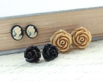 Stud Earrings Black Rose Earrings Caramel Tan Rose Studs Resin Jewelry Small Black Cameo Earrings Surgical Steel Post Earrings Nickel Free
