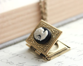 Book Locket Necklace Black and Ivory Lady Cameo Necklace Antique Brass Nickel Free Long Chain Vintage Style Photo Locket Booklovers Gift