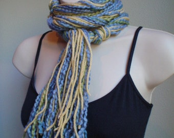 Thin Soft Knot Scarf in Soft Blue Green and Yellow