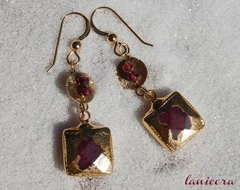 Gold Rubbed Ruby Earrings