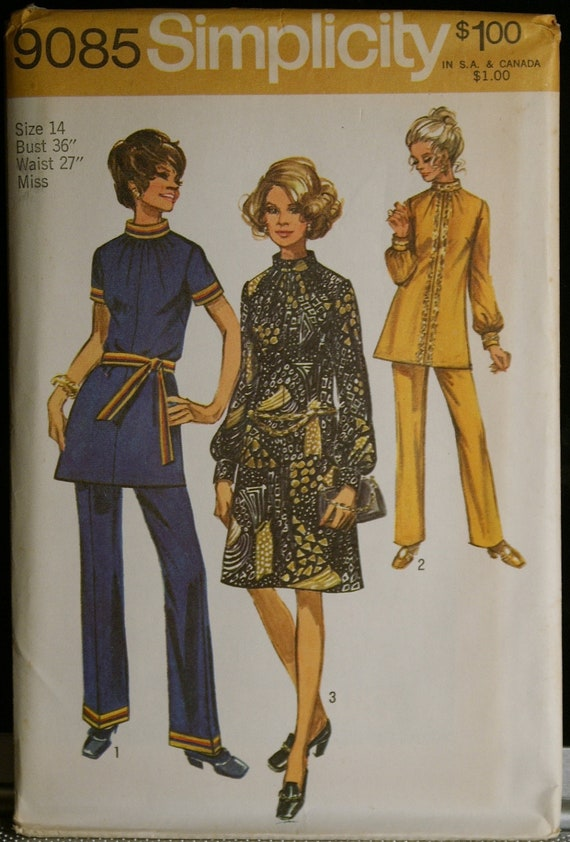 Simplicity 9085 Vintage Misses Dress or Tunic and Pants Vintage 1970s Sewing Pattern Sz 14