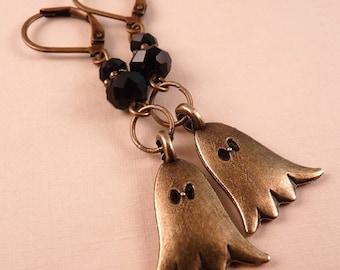 Halloween Earrings Halloween Jewely Ghost Earrings Beaded Jewelry Holiday Jewelry Brass Earrings Brass Jewelry