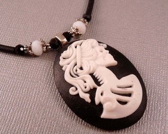 Day of the Dead Necklace Cameo Necklace Skull Necklace Skull Jewelry