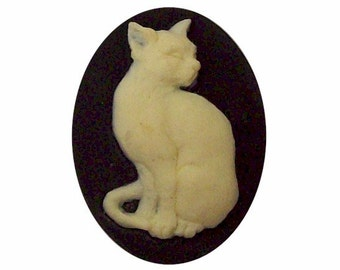 40x30 cameo Black Cat Cameo Resin Cameo cat jewelry supply loose unset cabochon halloween supply diy feline gifts craft part 382x