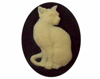 25x18 Cat Cameo Black cabochon Resin cabachon diy pet jewelry cat lover supplies diy black cat spooky halloween embellishment  388x