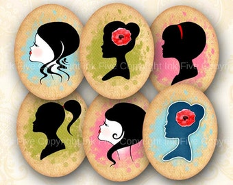 30x40 mm ovals Woman Silhouette. Faces Collage sheet for cabochons, cameos, pendants. Vintage paper printable oval images for download