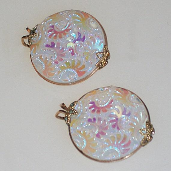 Vintage Hillcraft Earrings Iridescent White Flower Pattern 1950s Mid Century