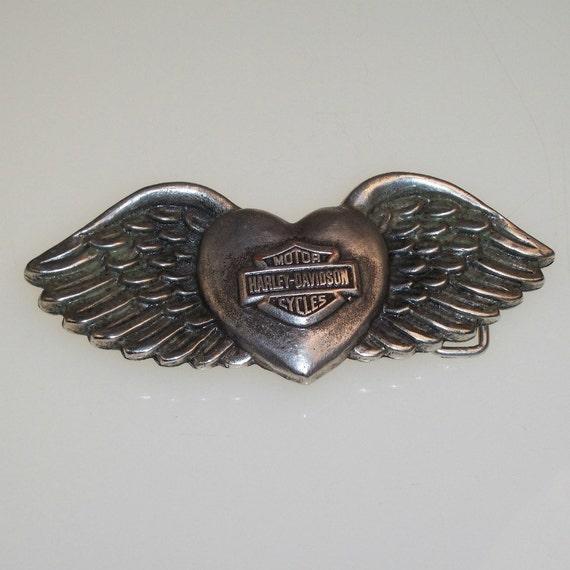 Vintage Belt Buckle Classic Harley Davidson Heart Amp Wings