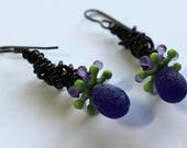 Grape, Lilac, Kiwi, and Black chain Dangle Earrings