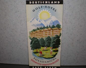 Vintage 1950's Illustrated German Travel Brochure - Deutschland Golf Hotel - Bayr Alpen